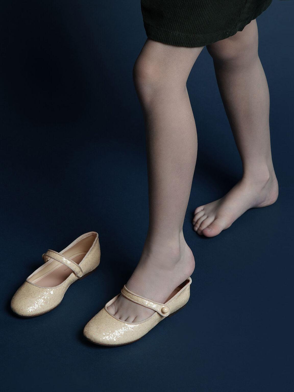 Girls' Glitter Mary Jane Flats, Beige, hi-res