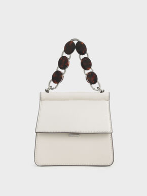 Small Acrylic Tortoiseshell Top Handle Bag, Multi, hi-res