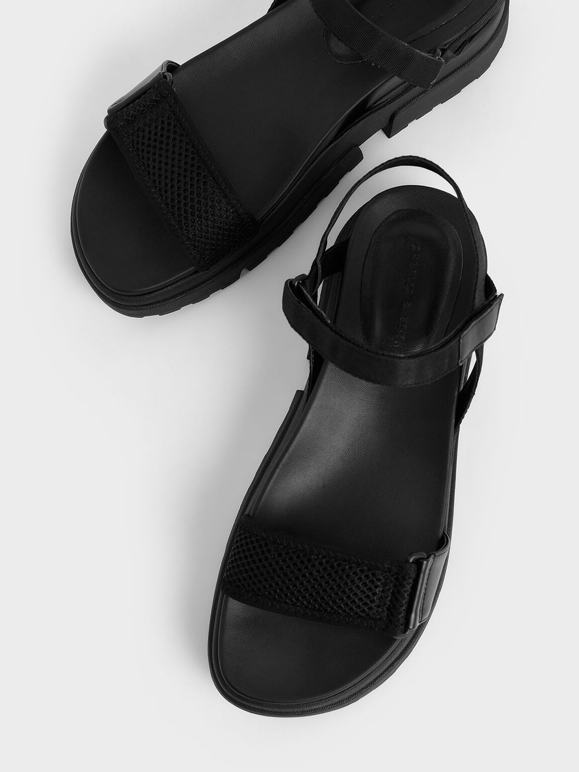Mesh & Grosgrain Flatform Sandals, Black, hi-res