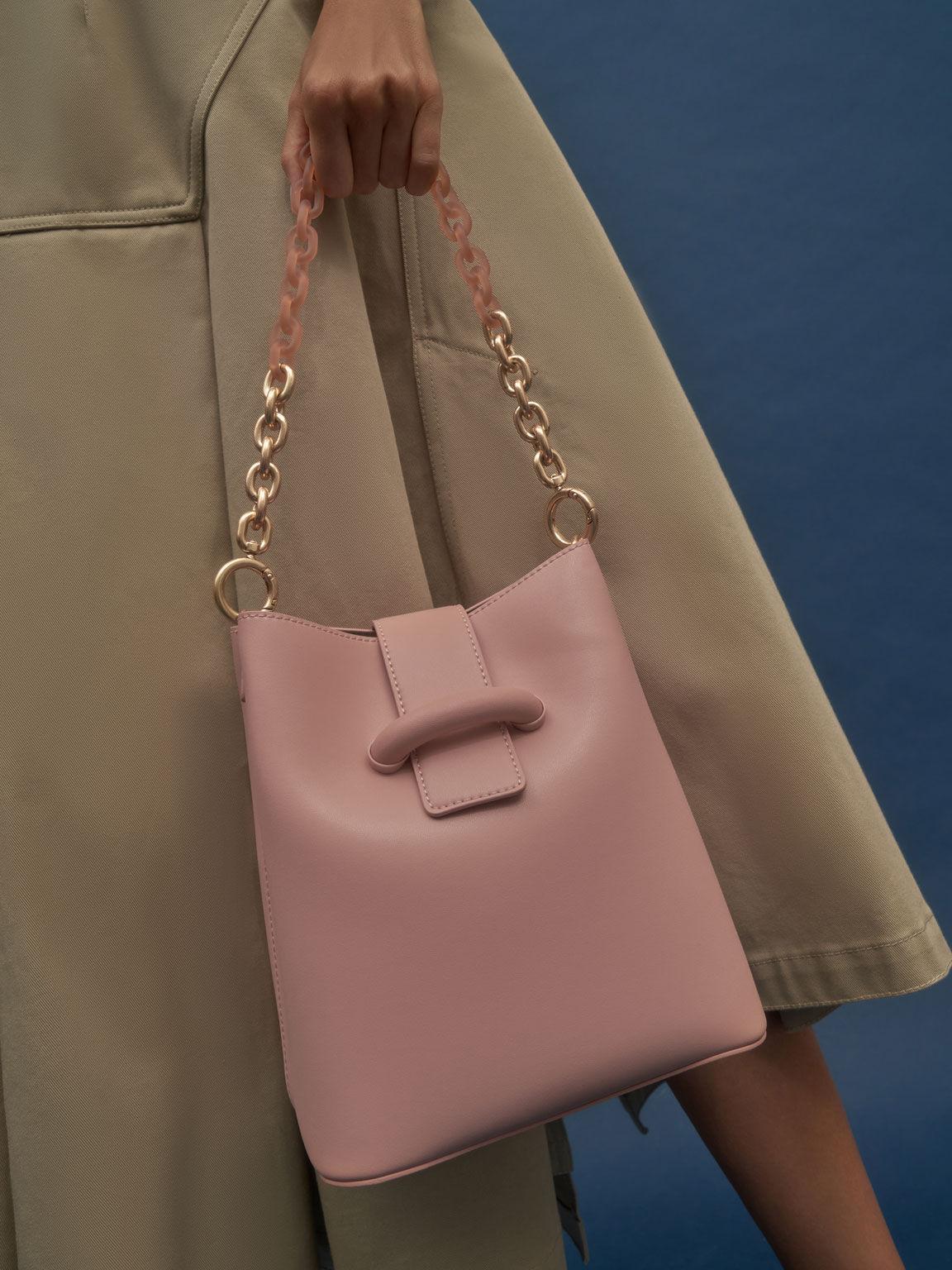 Chain Handle Bucket Bag, Blush, hi-res