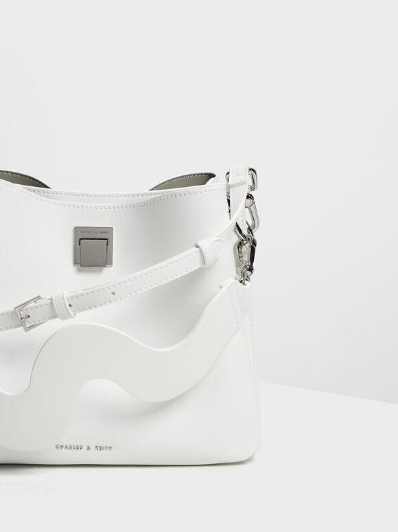 Buckle Shoulder Bag, White, hi-res