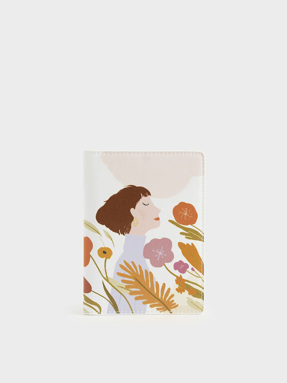 CHARLES & KEITH by Oamul Lu: Floral Illustration Passport Holder, White