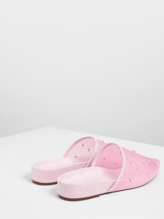 Pearl Embellished Mules, Lilac