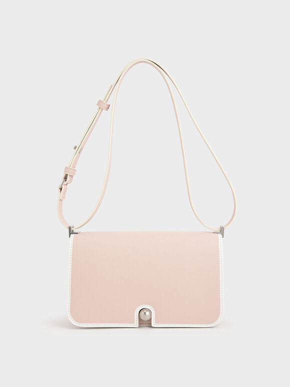 Metallic Push-Lock Shoulder Bag, Light Pink, hi-res