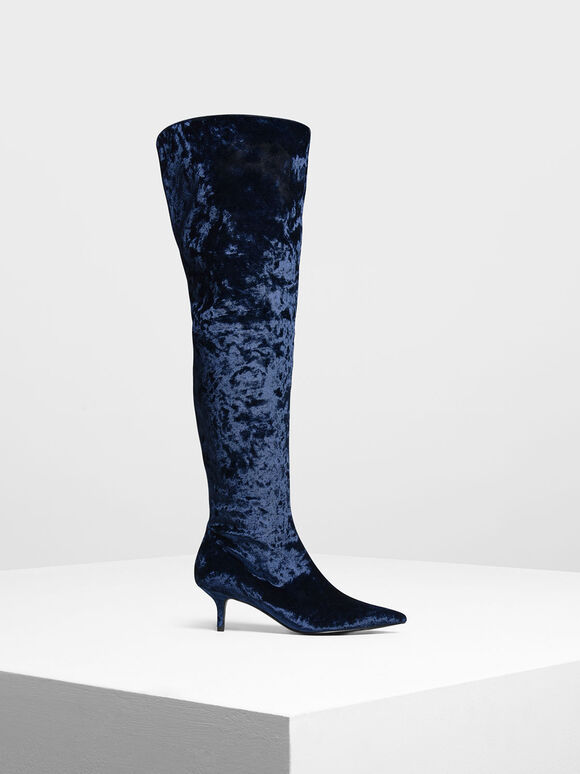 Classic Pointed Thigh High Boots, Dark Blue, hi-res