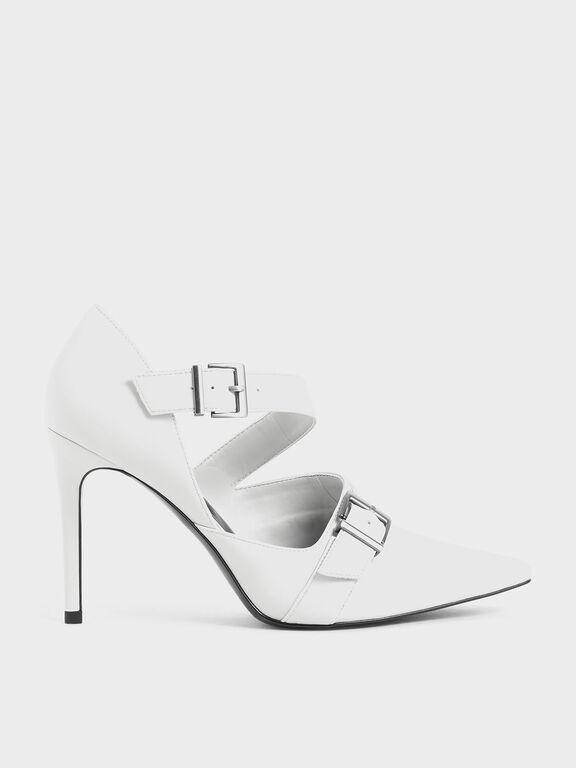 Strappy D'Orsay Stiletto Pumps, White