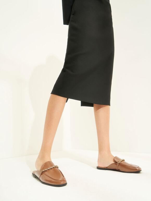麻花鏈穆勒鞋, 土黃色, hi-res
