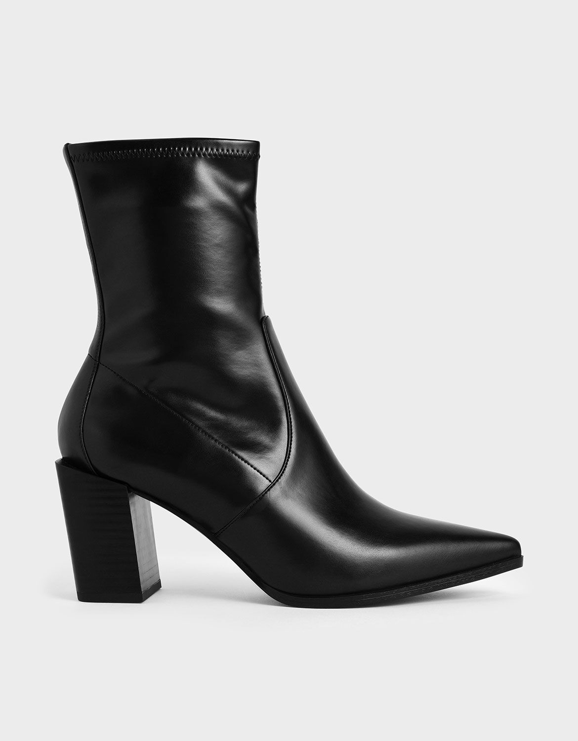 Black Stacked Heel Ankle Boots