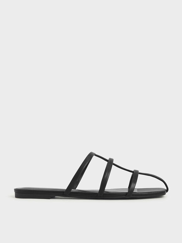 Strappy Caged Flat Sandals, Black, hi-res