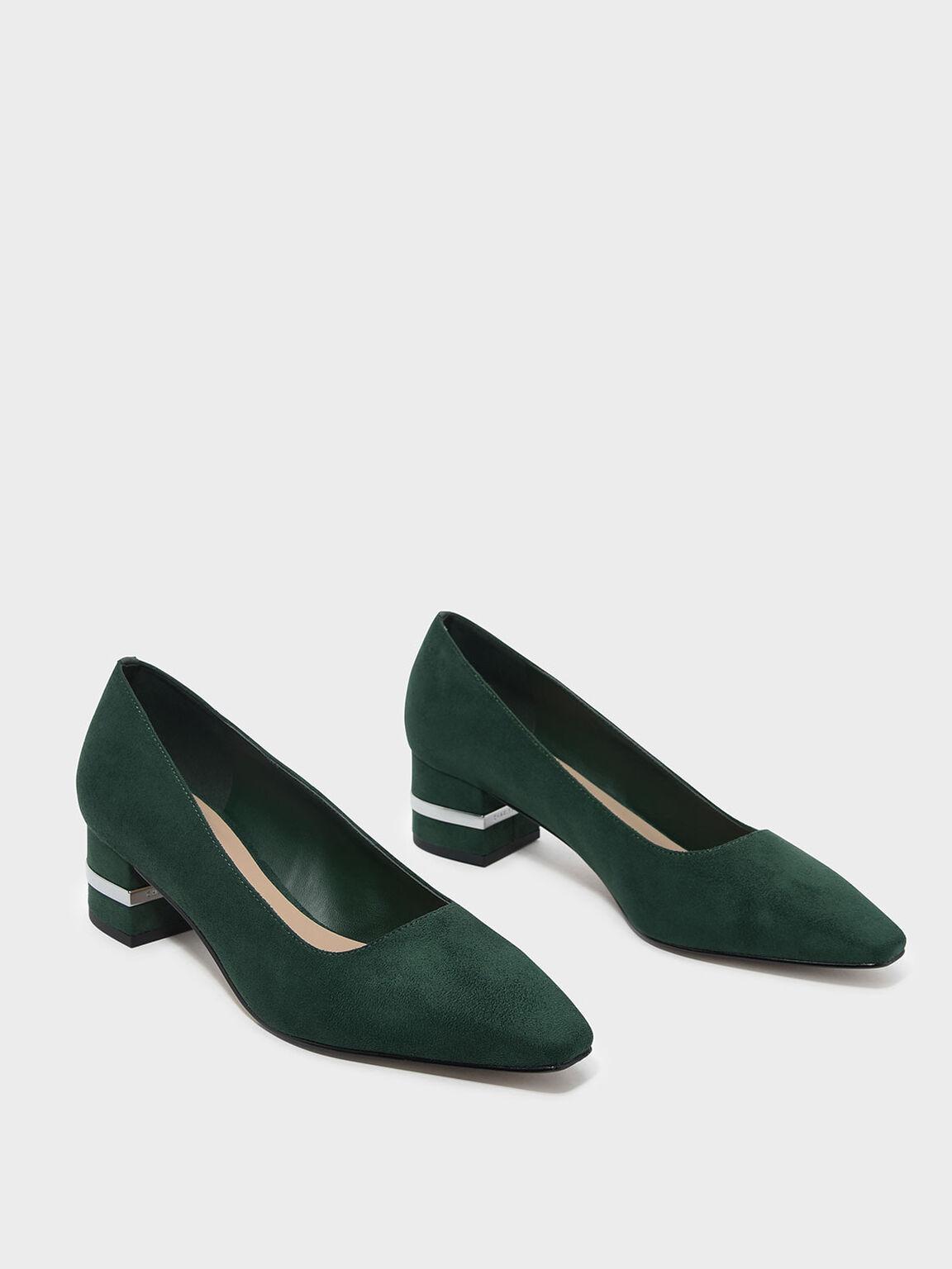 Metallic Accent Heel Pumps, Dark Green, hi-res