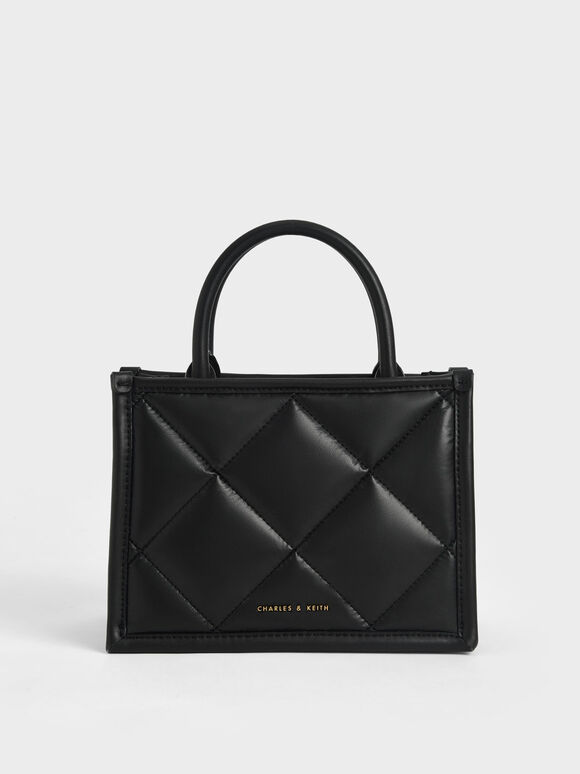 Quilted Double Handle Tote Bag, Black, hi-res
