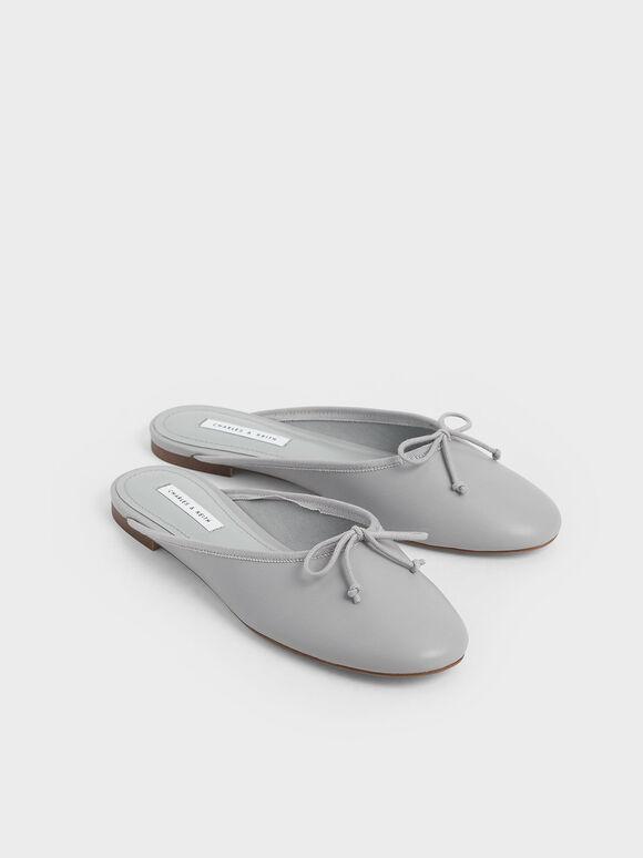 Bow Flat Mules, Grey, hi-res