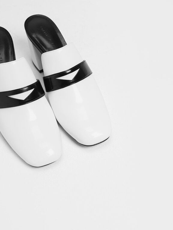 Block Heel Penny Loafers, White