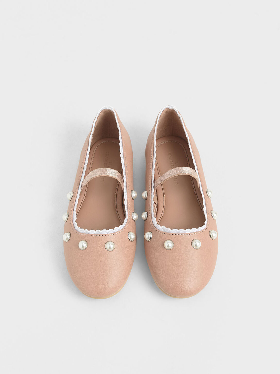 Girls' Studded Mary Jane Flats, Nude, hi-res