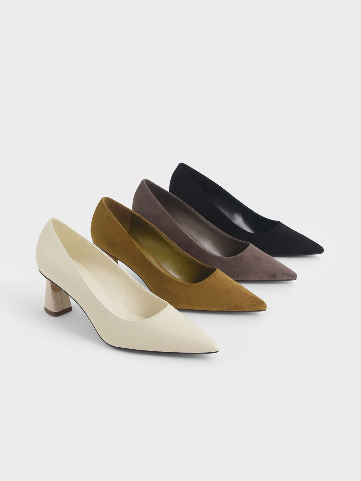 Textured Sculptural Heel Pumps, Taupe, hi-res