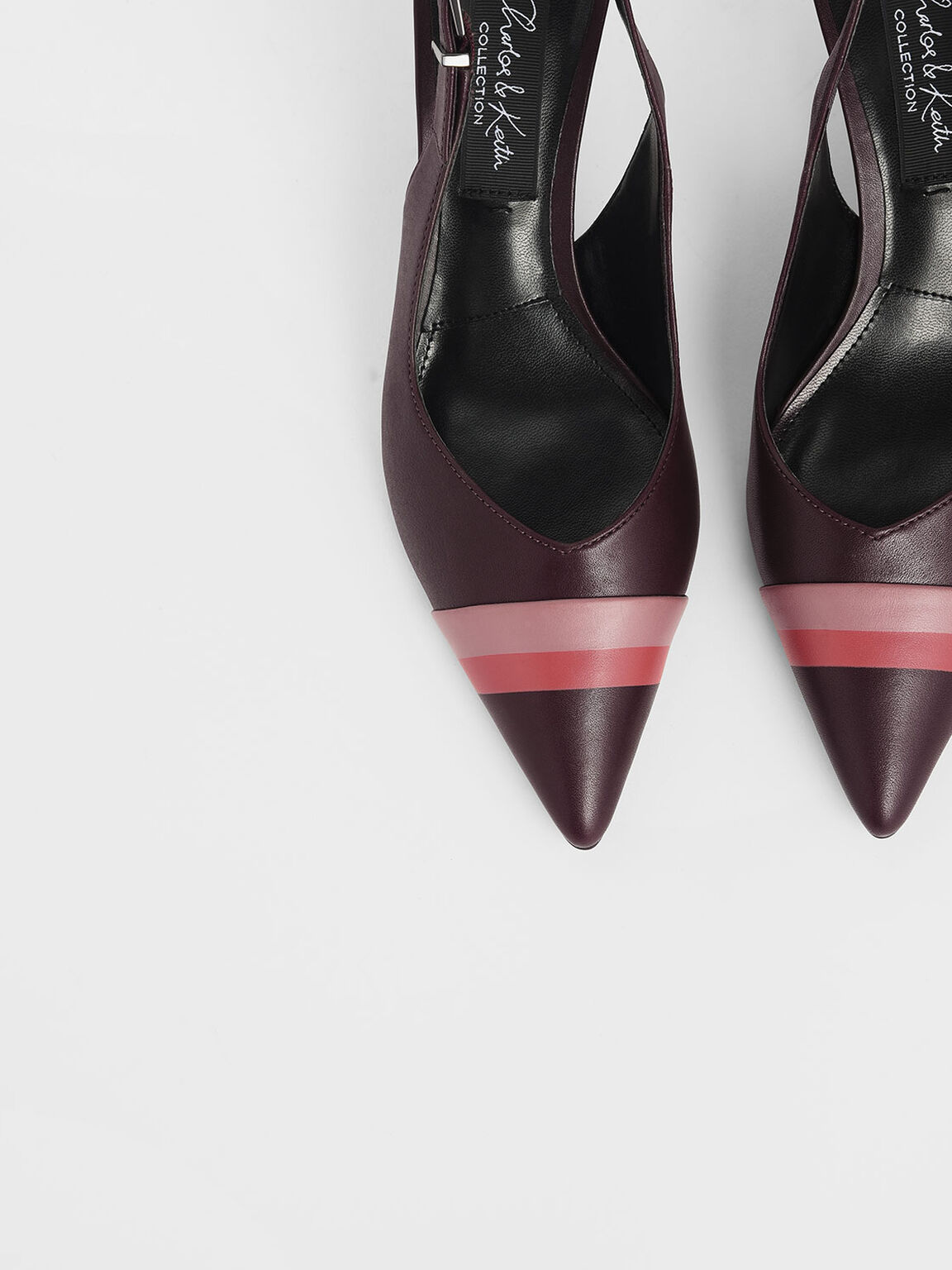 Striped Leather Slingback Heels, Prune, hi-res