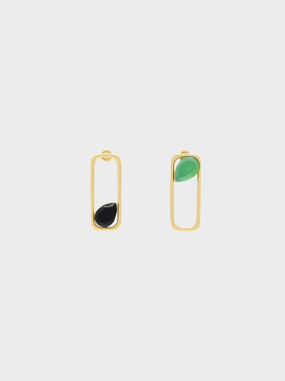 Green Agate Rectangle Drop Earrings, Gold, hi-res