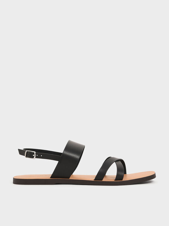 交叉帶平底涼鞋, 黑色, hi-res