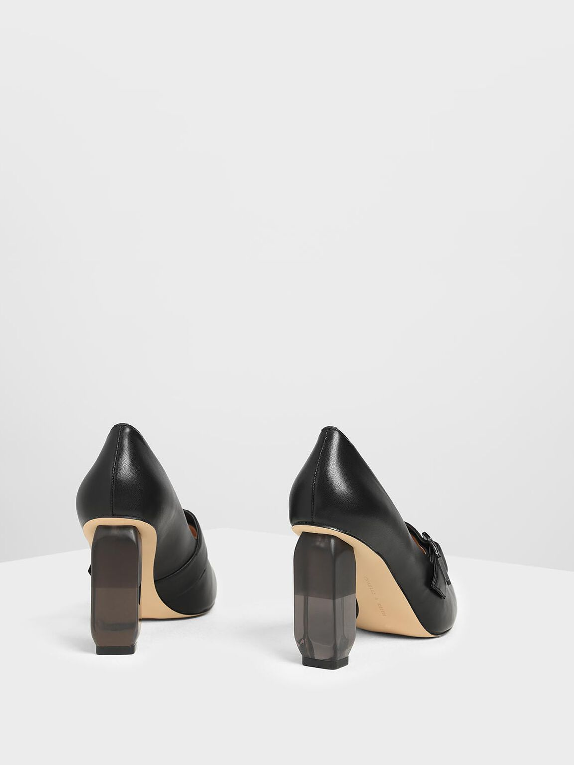 Buckle Lucite Heel Pumps, Black, hi-res