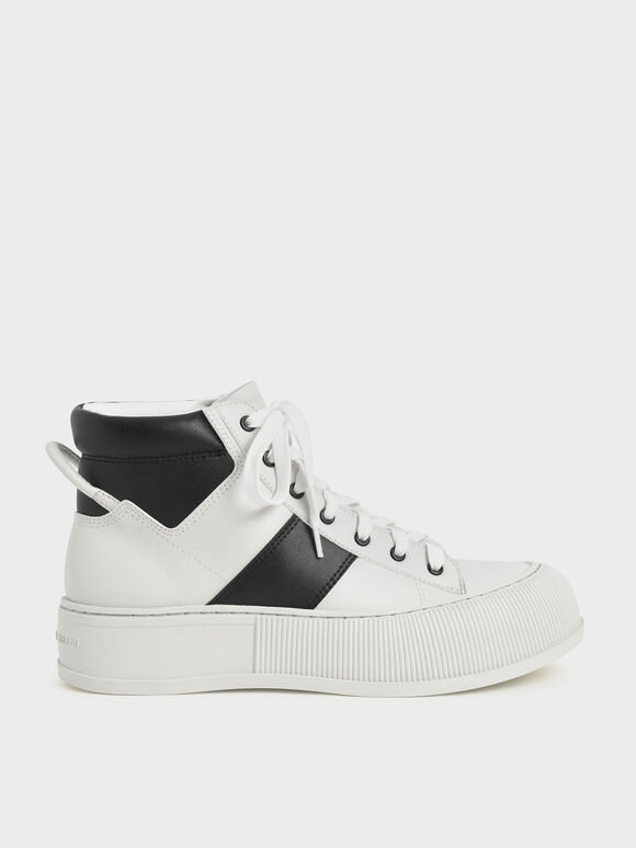 Two-Tone High-Top Sneakers, Black Textured, hi-res