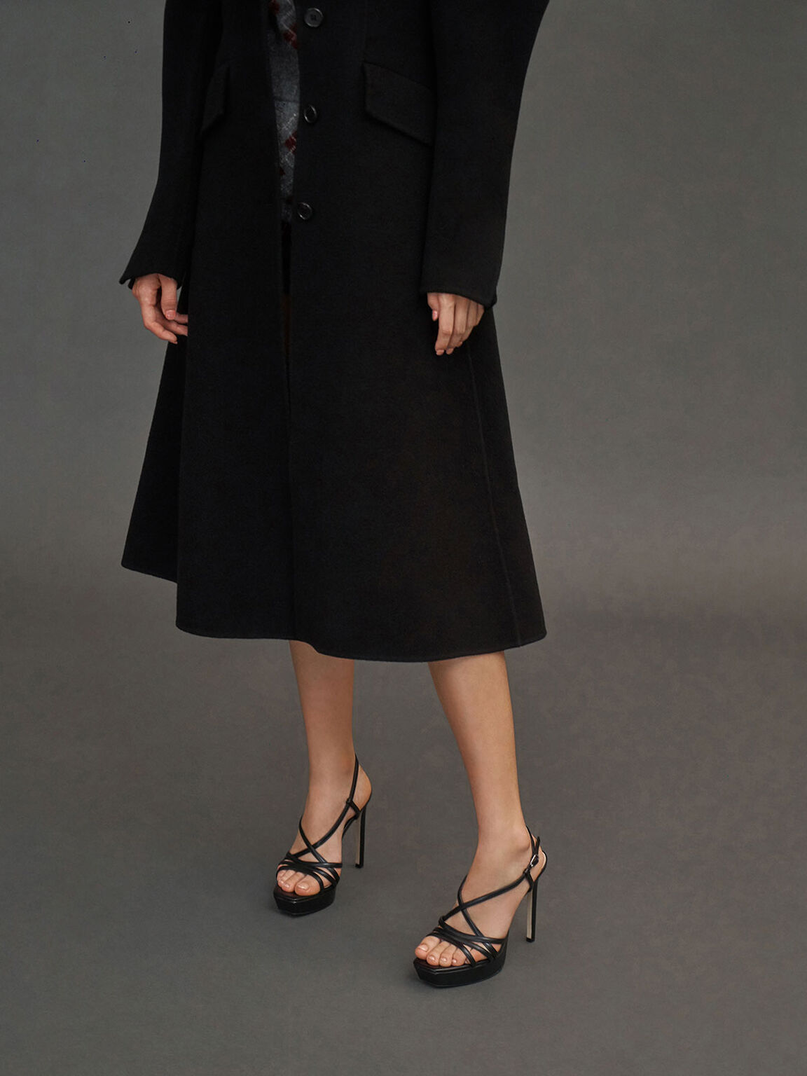 Strappy Platform Sandals, Black, hi-res