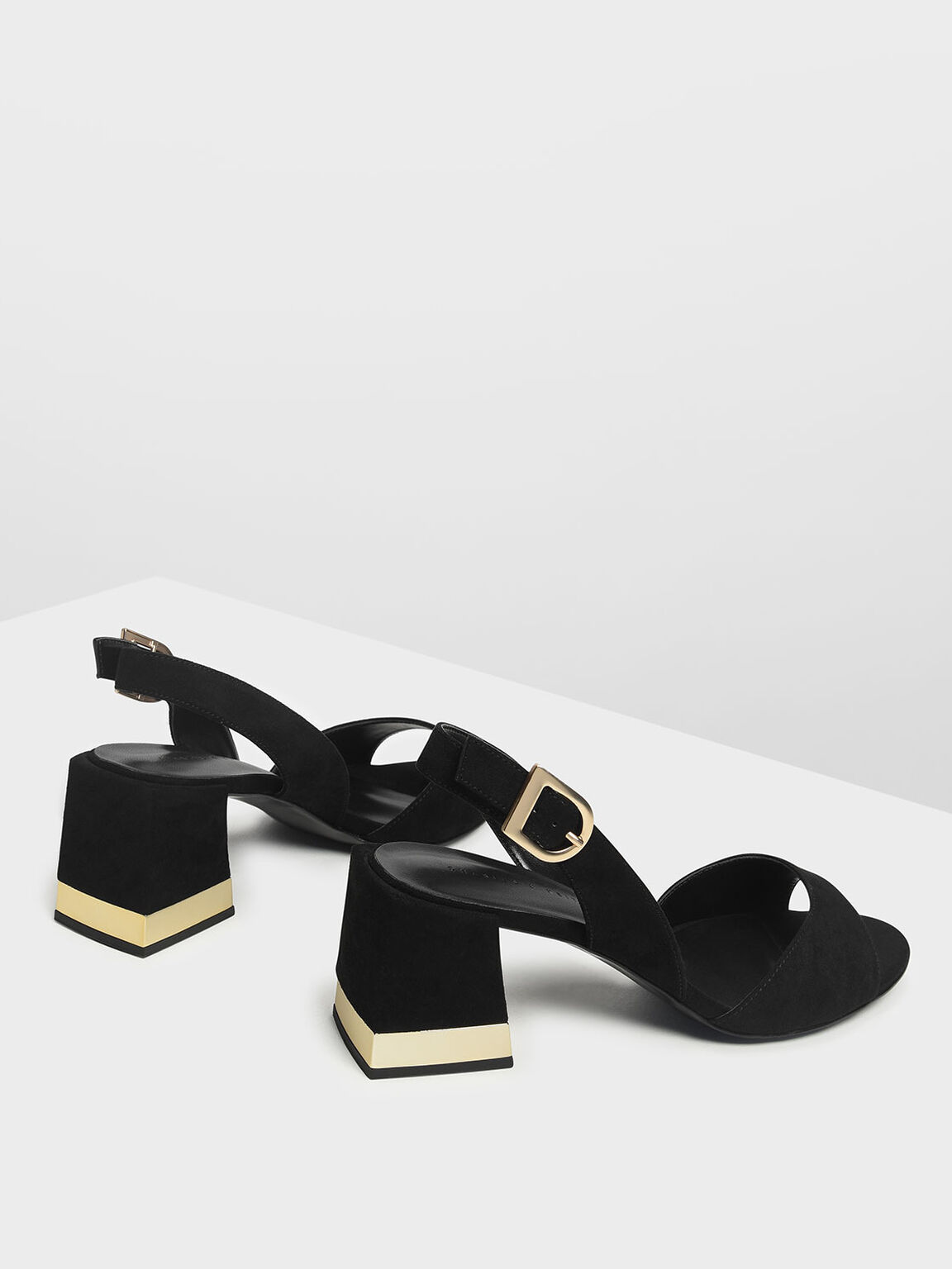 Metal Accented Block Heel Slingbacks, Black, hi-res