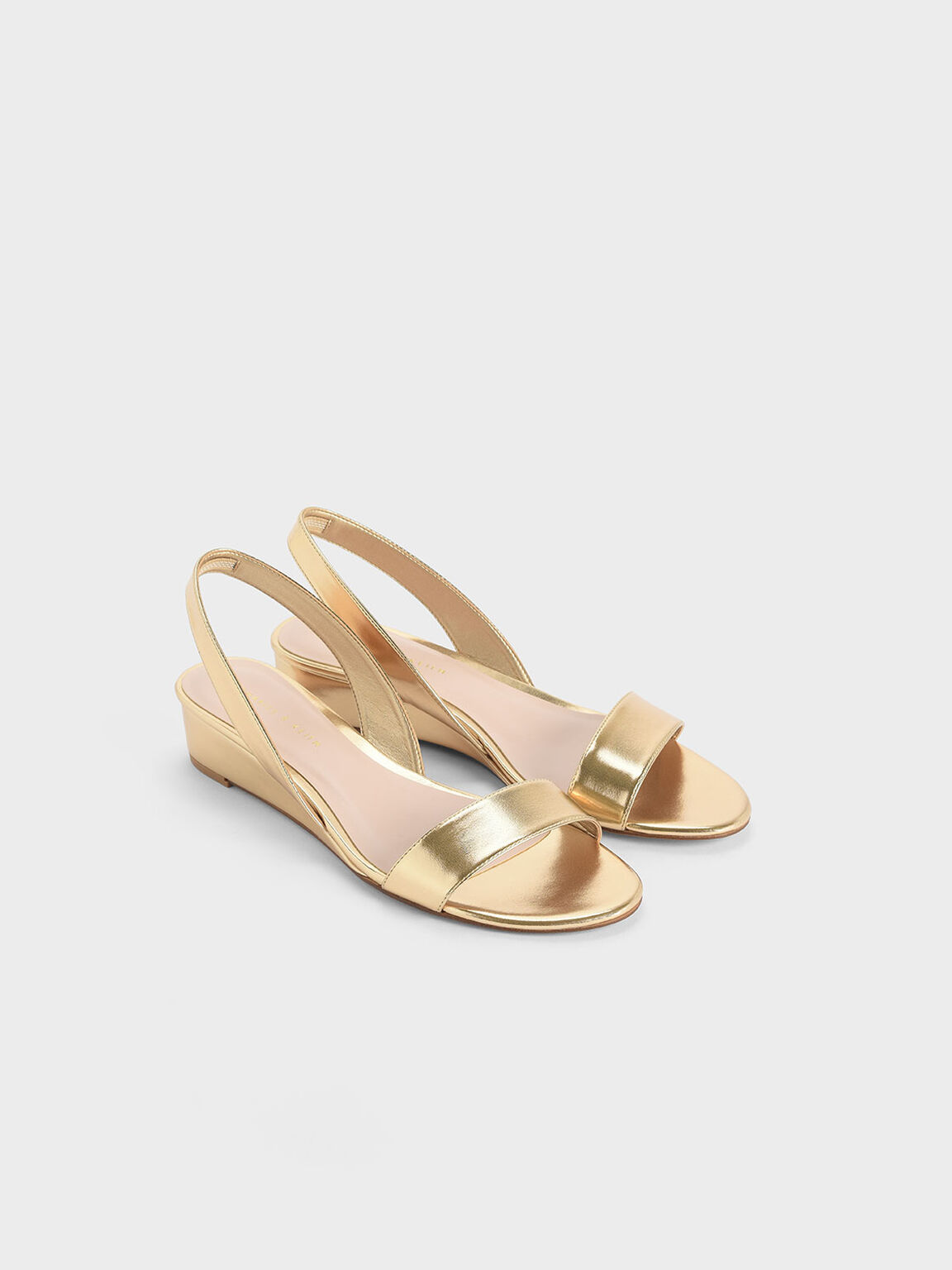 Metallic Low Slingback Wedges, Gold, hi-res