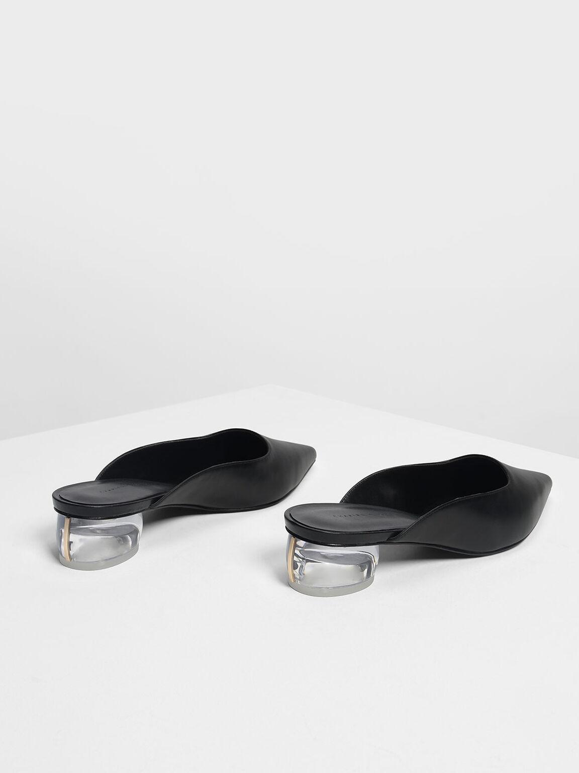 Lucite Heel Pointed Mules, Black, hi-res