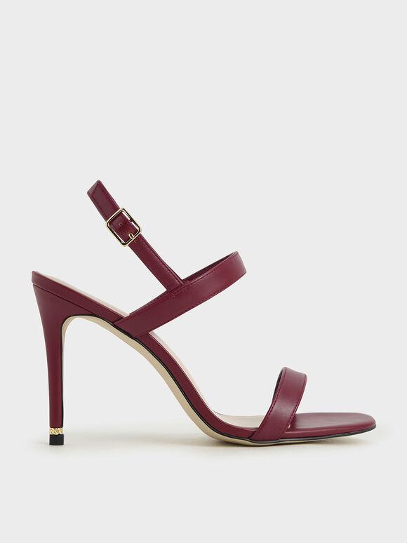 一字高跟涼鞋, 紅色, hi-res