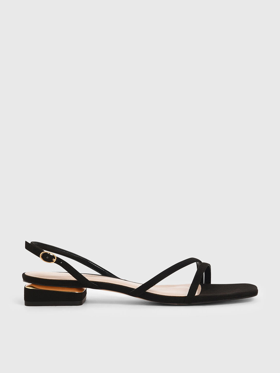 Textured Strappy Slingback Heels, Black, hi-res