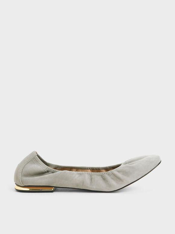 Ruched Ballerina Flats (Kid Suede), Sage Green, hi-res