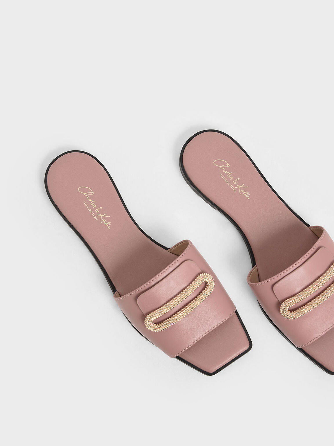Leather Metallic Accent Slide Sandals, Blush, hi-res