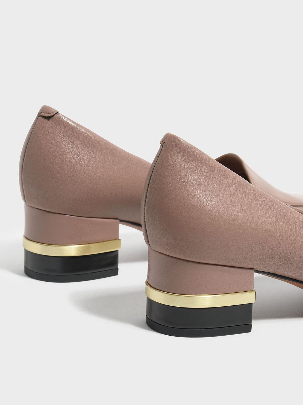 金屬鑲嵌粗跟鞋, 膚色, hi-res