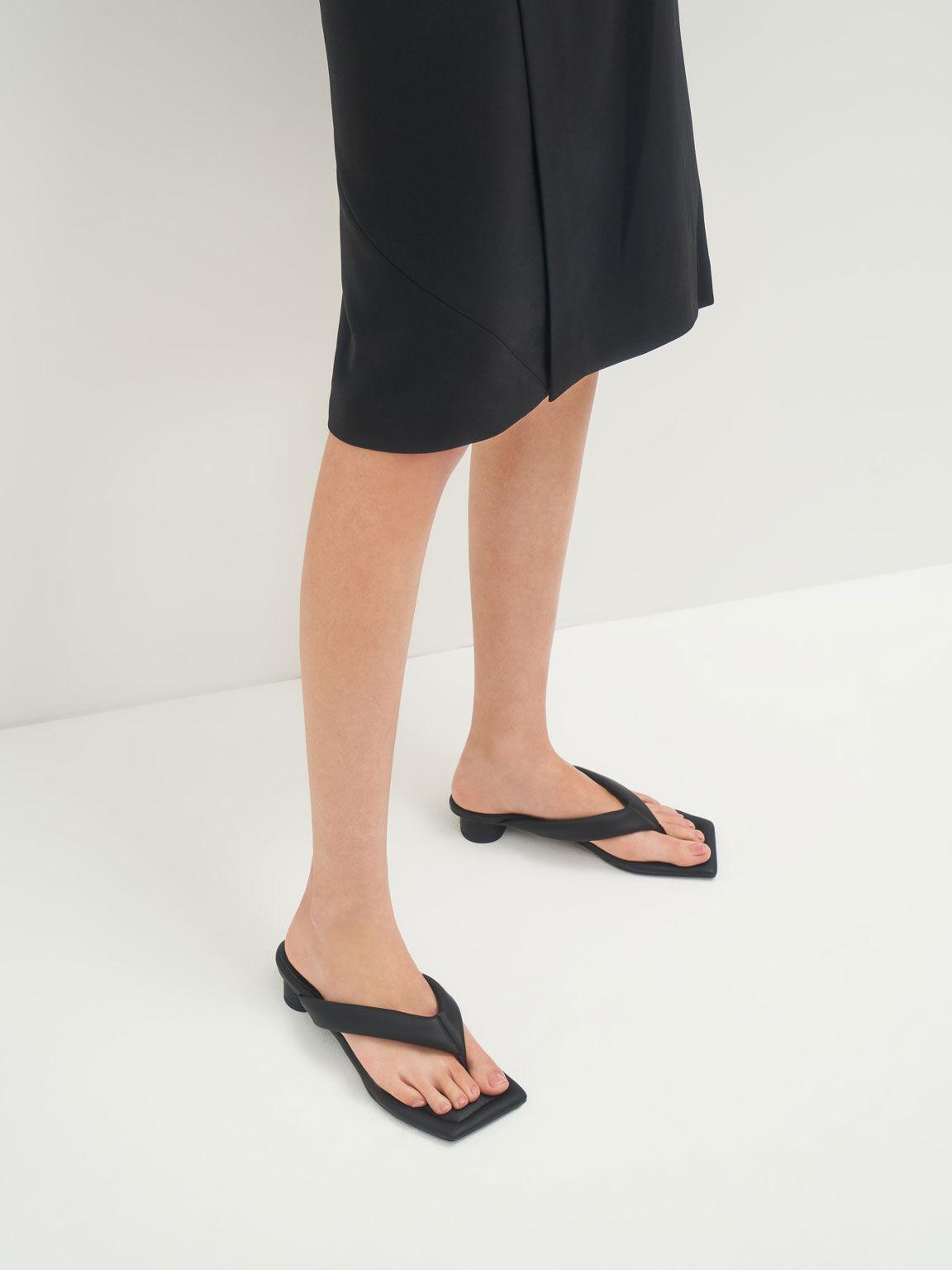 方頭澎澎夾腳拖鞋, 黑色, hi-res