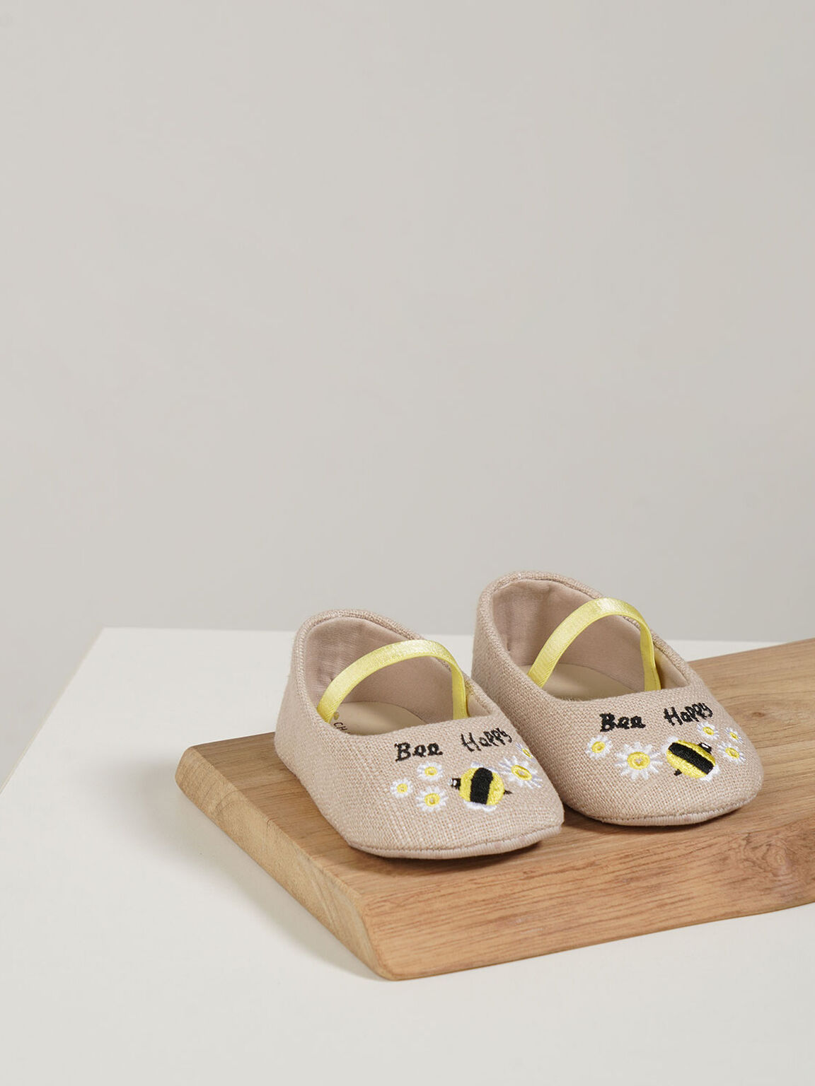Summer 2020 Responsible Collection: Baby Girls' Bee Motif Ballerinas, Beige, hi-res