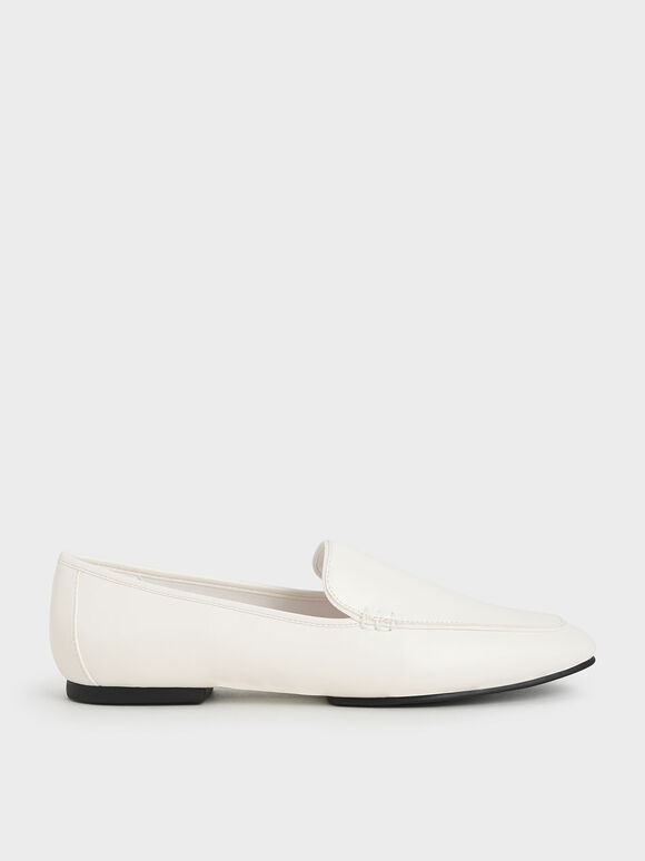 Loafer Flats, White, hi-res