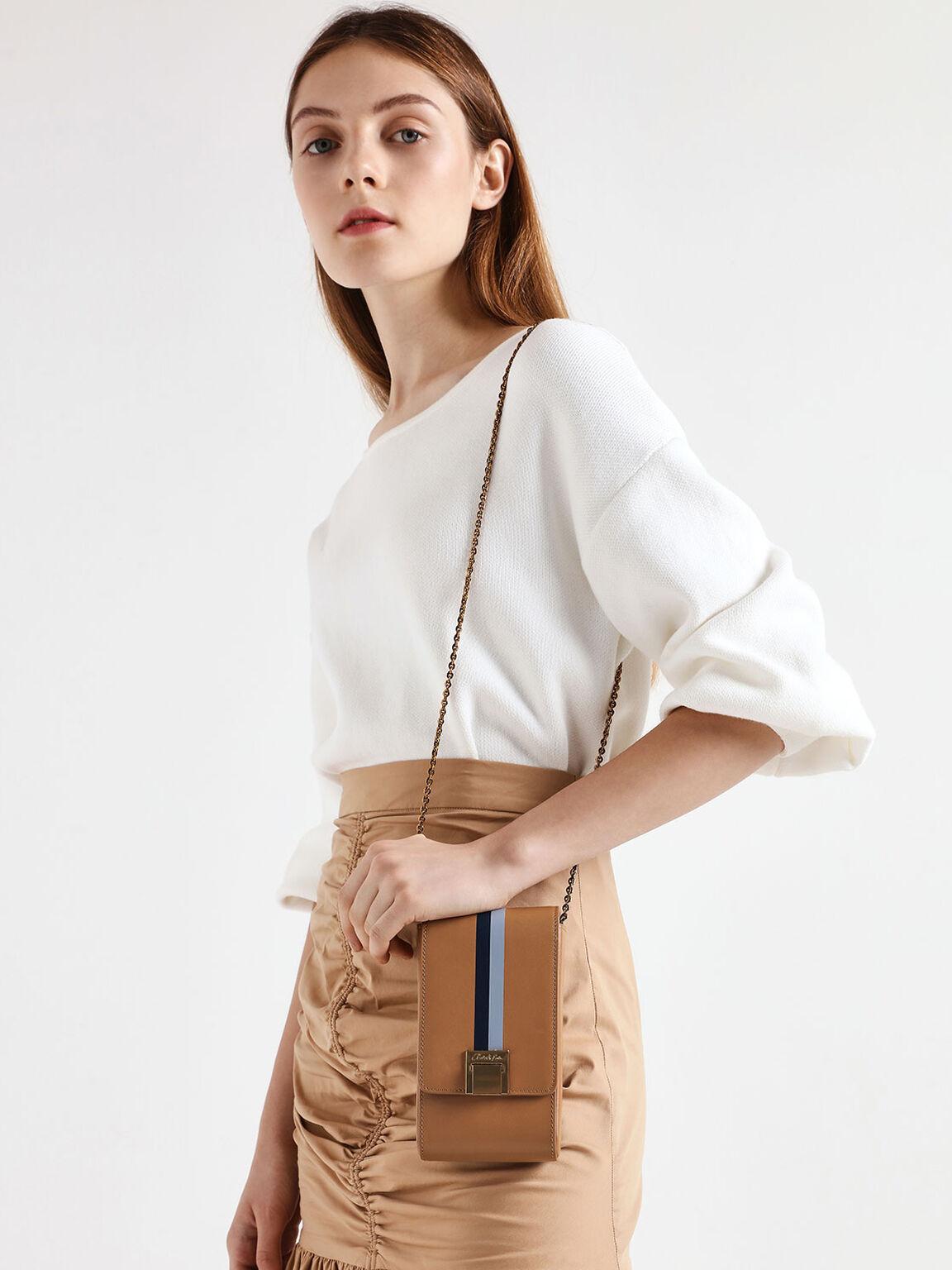 Striped Elongated Leather Crossbody Bag, Caramel, hi-res