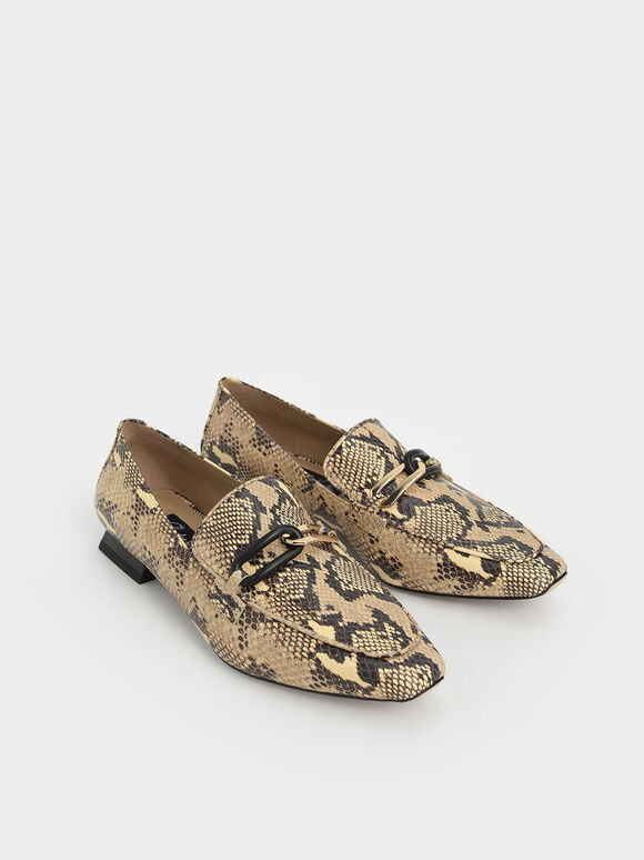Snake Print Embellished Leather Loafers, Multi, hi-res