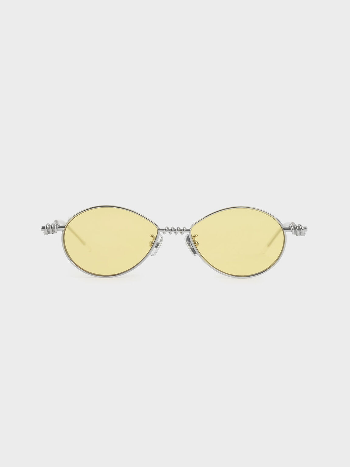 Twine Detail Oval Sunglasses, Yellow, hi-res