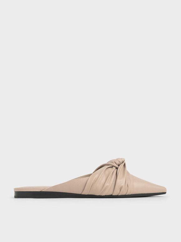 Ruched Knot Mules, Nude, hi-res