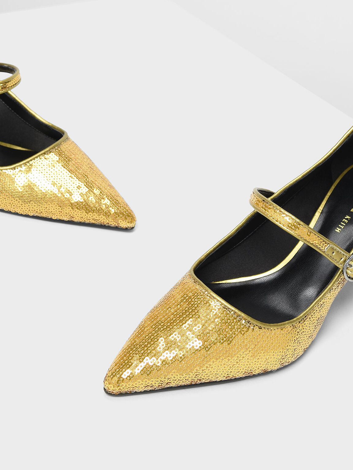 Sequin Mary Jane Pumps, Gold, hi-res