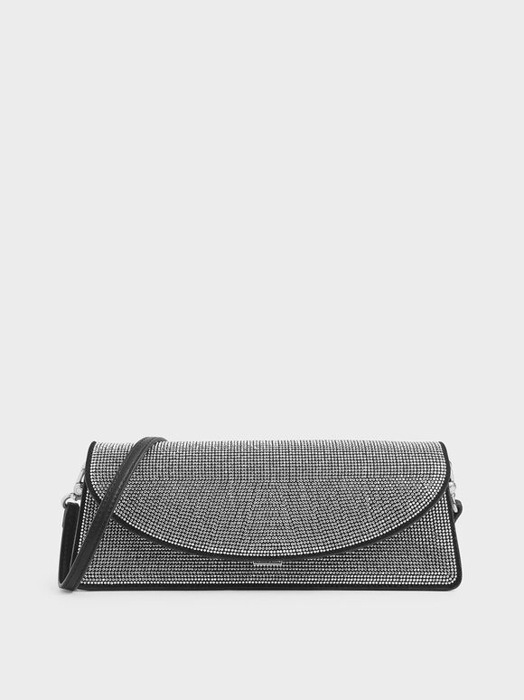 Embellished Long Clutch, Black, hi-res