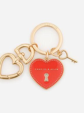 Heart Lock Keychain, Red