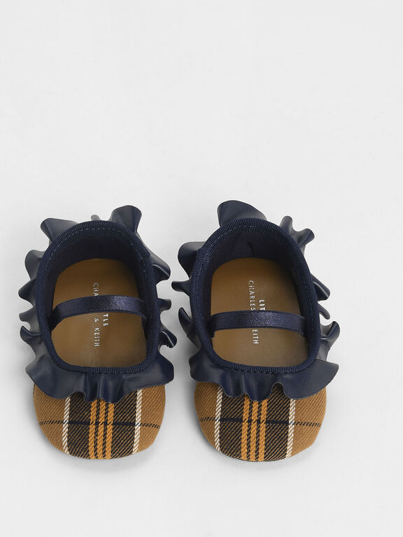 Baby Girls' Frill Trim Check Print Mary Jane Flats, Mustard