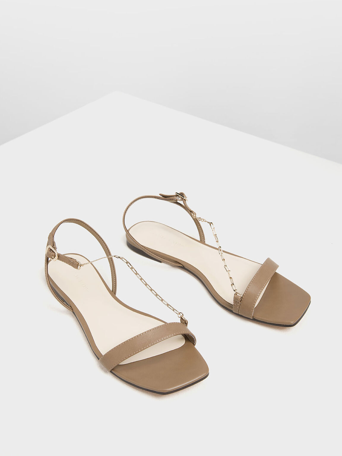 Chain Strap Sandals, Brown, hi-res