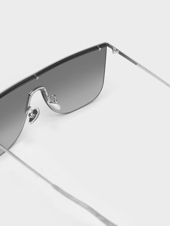 Crystal Embellished Sunglasses, Silver, hi-res