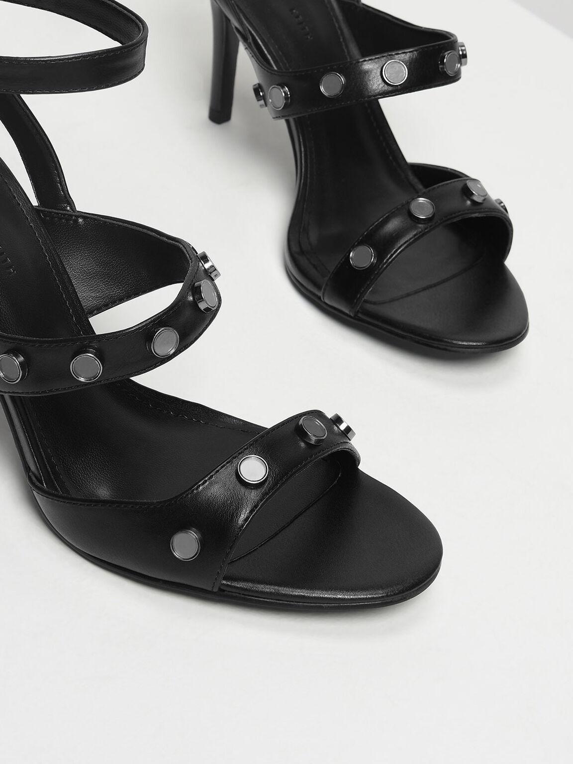 Stud Detail Heeled Sandals, Black, hi-res