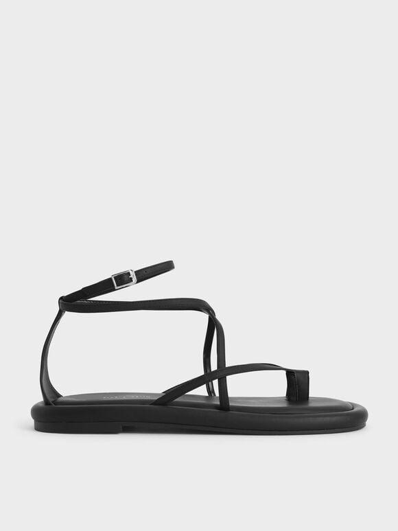 交叉繞踝夾腳涼鞋, 黑色, hi-res