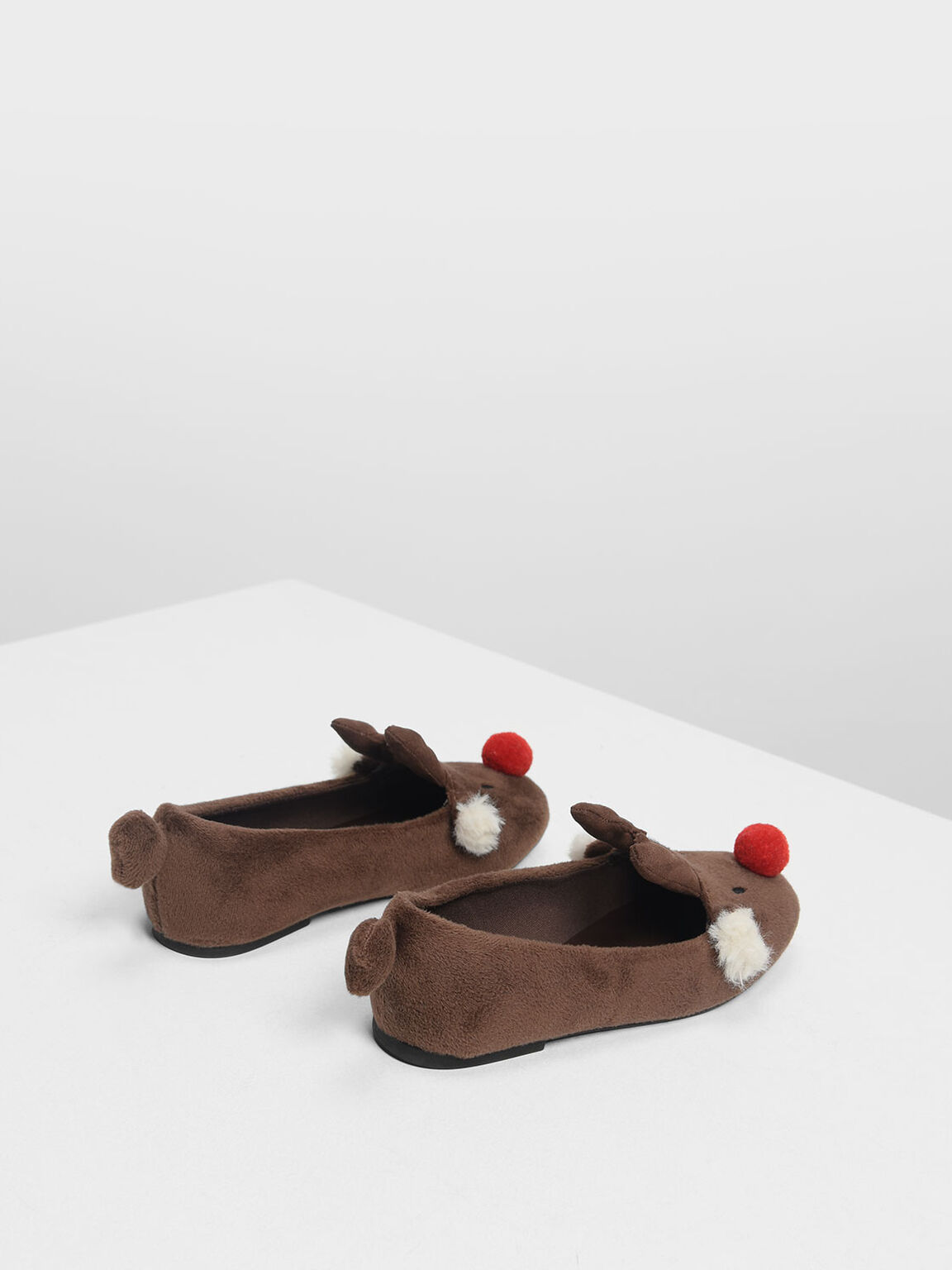 Kids Reindeer Ballerinas, Brown, hi-res