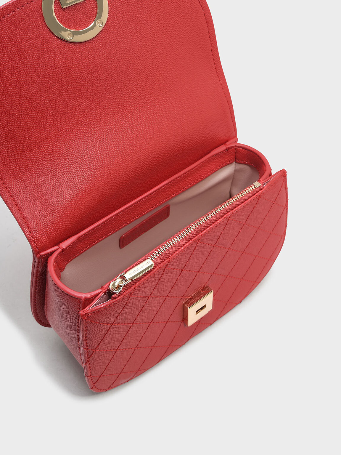 Circular Buckle Crossbody Bag, Red, hi-res